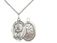 "Sterling Silver St. Sebastian / Baseball Pendant, SS Lite Curb Chain, Medium Size Catholic Medal, 3/4"" x 1/2"""