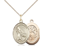"Gold Filled St. Sebastian / Football Pendant, GF Lite Curb Chain, Medium Size Catholic Medal, 3/4"" x 1/2"""