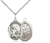"Sterling Silver St. Sebastian / Football Pendant, SS Lite Curb Chain, Medium Size Catholic Medal, 3/4"" x 1/2"""