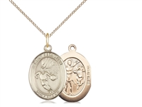 "Gold Filled St. Sebastian / Basketball Pendant, GF Lite Curb Chain, Medium Size Catholic Medal, 3/4"" x 1/2"""