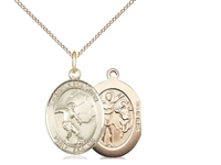 "Gold Filled St. Sebastian / Soccer Pendant, GF Lite Curb Chain, Medium Size Catholic Medal, 3/4"" x 1/2"""