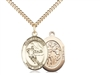 "Gold Filled St. Sebastian / Hockey Pendant, GF Lite Curb Chain, Medium Size Catholic Medal, 3/4"" x 1/2"""