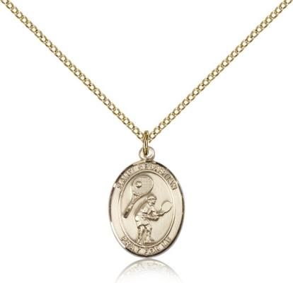 "Gold Filled St. Sebastian / Tennis Pendant, GF Lite Curb Chain, Medium Size Catholic Medal, 3/4"" x 1/2"""