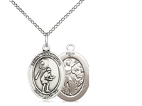 "Sterling Silver St. Sebastian / Tennis Pendant, SS Lite Curb Chain, Medium Size Catholic Medal, 3/4"" x 1/2"""