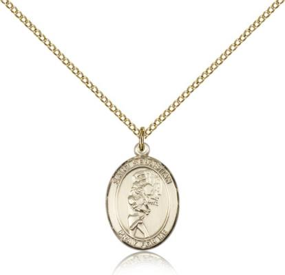 "Gold Filled St. Sebastian / Softball Pendant, GF Lite Curb Chain, Medium Size Catholic Medal, 3/4"" x 1/2"""