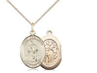 "Gold Filled St. Sebastian / Wrestling Pendant, GF Lite Curb Chain, Medium Size Catholic Medal, 3/4"" x 1/2"""