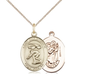 "Gold Filled St. Sebastian / Swimming Pendant, GF Lite Curb Chain, Medium Size Catholic Medal, 3/4"" x 1/2"""