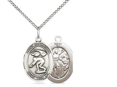 "Sterling Silver St. Sebastian / Swimming Pendant, SS Lite Curb Chain, Medium Size Catholic Medal, 3/4"" x 1/2"""