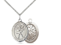 "Sterling Silver St Sebastian / Dance Pendant, SS Lite Curb Chain, Medium Size Catholic Medal, 3/4"" x 1/2"""
