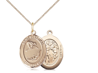 "Gold Filled St Sebastian / Gymnastics Pendant, GF Lite Curb Chain, Medium Size Catholic Medal, 3/4"" x 1/2"""