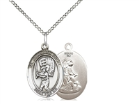 "Sterling Silver Guardian Angel / Baseball Pendant, SS Lite Curb Chain, Medium Size Catholic Medal, 3/4"" x 1/2"""
