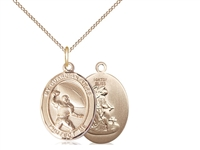 "Gold Filled Guardian Angel / Football Pendant, GF Lite Curb Chain, Medium Size Catholic Medal, 3/4"" x 1/2"""