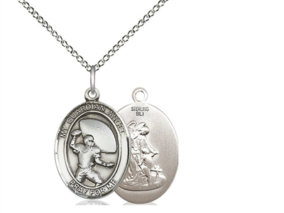 "Sterling Silver Guardian Angel / Football Pendant, SS Lite Curb Chain, Medium Size Catholic Medal, 3/4"" x 1/2"""
