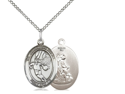 "Sterling Silver Guardian Angel / Basketball Pendan, SS Lite Curb Chain, Medium Size Catholic Medal, 3/4"" x 1/2"""