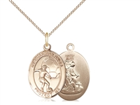 "Gold Filled Guardian Angel / Soccer Pendant, GF Lite Curb Chain, Medium Size Catholic Medal, 3/4"" x 1/2"""