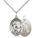 "Sterling Silver Guardian Angel / Soccer Pendant, SS Lite Curb Chain, Medium Size Catholic Medal, 3/4"" x 1/2"""
