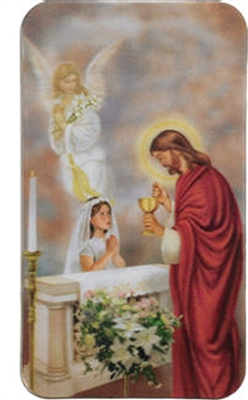 3D Girls First Communion Holy Card RS228