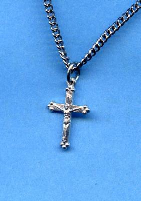 Tiny 1.5 Cm. Sterling Silver/Gold Crucifix