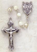 Creed Sterling Silver 6mm Mother of Pearl  Rosary