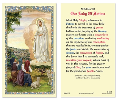 Our Lady of Fatima Holy Card Plastic 800-1127