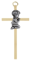 "4.25"" Brass Cross - Baby Boy B60P04"
