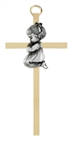 "4.25"" Brass Cross - Baby Girl B61P04"