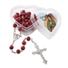 Rose Scented Rosary with Plastic Heart Shape Case