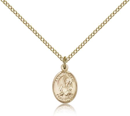"Gold Filled St. Andrew the Apostle Pendant, Gold Filled Lite Curb Chain, Small Size Catholic Medal, 1/2"" x 1/4"""