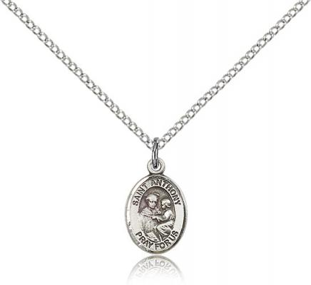 "Sterling Silver St. Anthony of Padua Pendant, Sterling Silver Lite Curb Chain, Small Size Catholic Medal, 1/2"" x 1/4"""