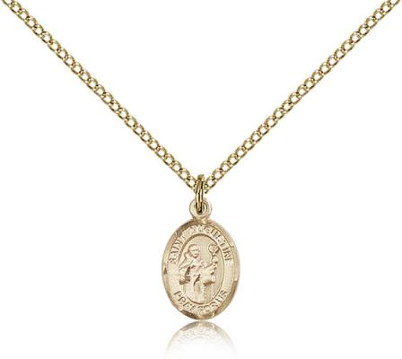"Gold Filled St. Augustine Pendant, Gold Filled Lite Curb Chain, Small Size Catholic Medal, 1/2"" x 1/4"""
