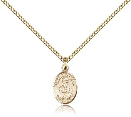 "Gold Filled St. Alexander Sauli Pendant, Gold Filled Lite Curb Chain, Small Size Catholic Medal, 1/2"" x 1/4"""