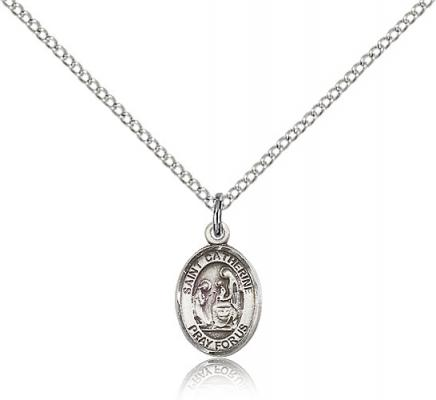 "Sterling Silver St. Catherine of Siena Pendant, Sterling Silver Lite Curb Chain, Small Size Catholic Medal, 1/2"" x 1/4"""