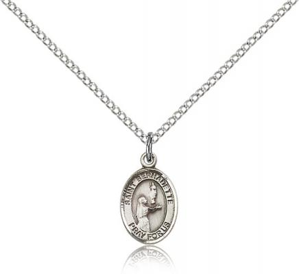 "Sterling Silver St. Bernadette Pendant, Sterling Silver Lite Curb Chain, Small Size Catholic Medal, 1/2"" x 1/4"""