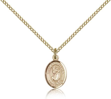 "Gold Filled St. Christopher Pendant, Gold Filled Lite Curb Chain, Small Size Catholic Medal, 1/2"" x 1/4"""