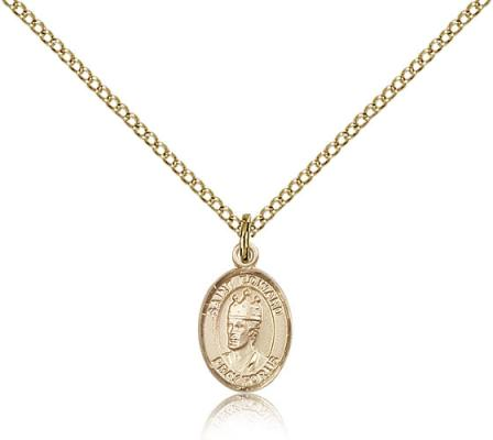 "Gold Filled St. Edward the Confessor Pendant, Gold Filled Lite Curb Chain, Small Size Catholic Medal, 1/2"" x 1/4"""