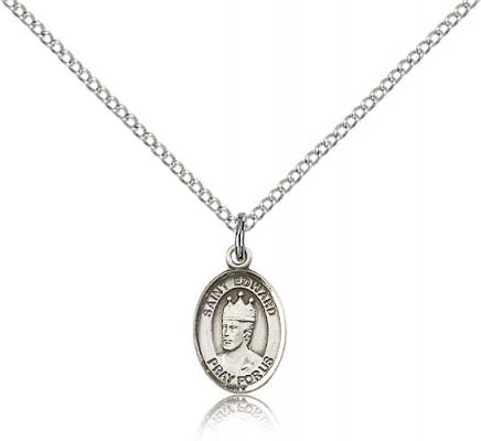 "Sterling Silver St. Edward the Confessor Pendant, Sterling Silver Lite Curb Chain, Small Size Catholic Medal, 1/2"" x 1/4"""