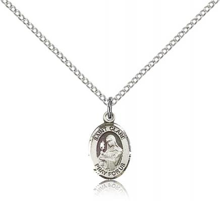 "Sterling Silver St. Clare of Assisi Pendant, Sterling Silver Lite Curb Chain, Small Size Catholic Medal, 1/2"" x 1/4"""