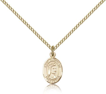 "Gold Filled St. Elizabeth of Hungary Pendant, Gold Filled Lite Curb Chain, Small Size Catholic Medal, 1/2"" x 1/4"""