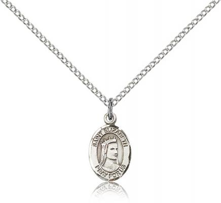 "Sterling Silver St. Elizabeth of Hungary Pendant, Sterling Silver Lite Curb Chain, Small Size Catholic Medal, 1/2"" x 1/4"""