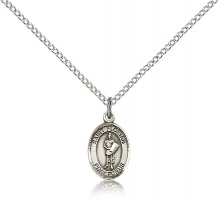"Sterling Silver St. Florian Pendant, Sterling Silver Lite Curb Chain, Small Size Catholic Medal, 1/2"" x 1/4"""