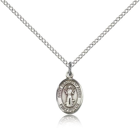 Sterling silver st francis of assisi pendant sterling silver lite sterling silver st francis of assisi pendant sterling silver lite curb chain small size catholic medal aloadofball Gallery