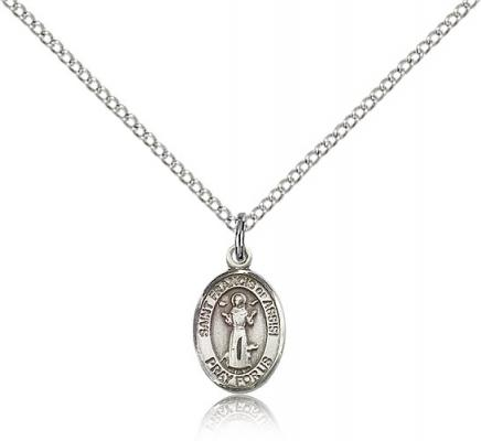 "Sterling Silver St. Francis of Assisi Pendant, Sterling Silver Lite Curb Chain, Small Size Catholic Medal, 1/2"" x 1/4"""