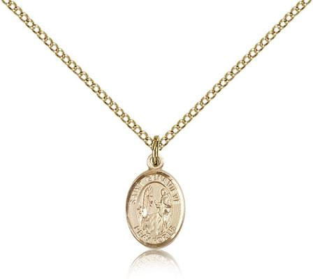 "Gold Filled St. Genevieve Pendant, Gold Filled Lite Curb Chain, Small Size Catholic Medal, 1/2"" x 1/4"""