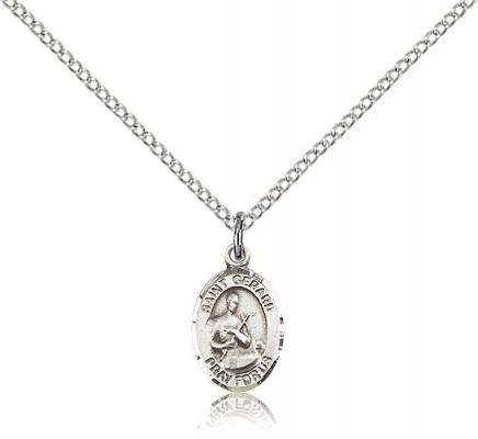"Sterling Silver St. Gerard Majella Pendant, Sterling Silver Lite Curb Chain, Small Size Catholic Medal, 1/2"" x 1/4"""
