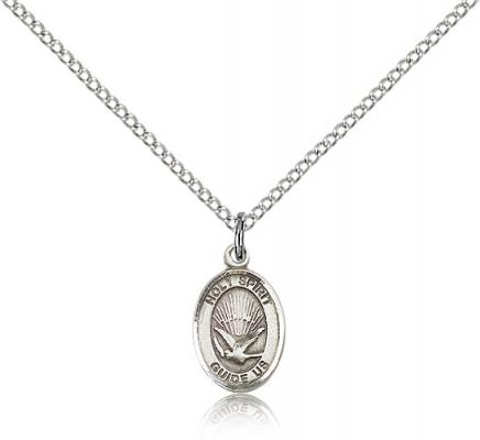 "Sterling Silver Holy Spirit Pendant, Sterling Silver Lite Curb Chain, Small Size Catholic Medal, 1/2"" x 1/4"""