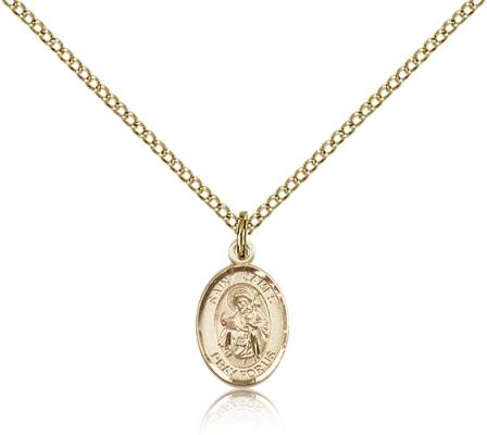 "Gold Filled St. James the Greater Pendant, Gold Filled Lite Curb Chain, Small Size Catholic Medal, 1/2"" x 1/4"""