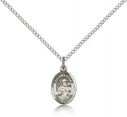 "Sterling Silver St. Joseph Pendant, Sterling Silver Lite Curb Chain, Small Size Catholic Medal, 1/2"" x 1/4"""