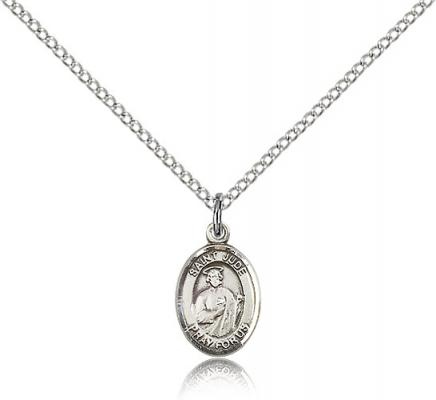 "Sterling Silver St. Jude Thaddeus Pendant, Sterling Silver Lite Curb Chain, Small Size Catholic Medal, 1/2"" x 1/4"""