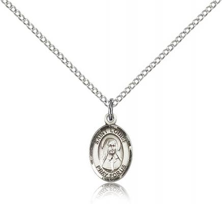 "Sterling Silver St. Louise de Marillac Pendant, Sterling Silver Lite Curb Chain, Small Size Catholic Medal, 1/2"" x 1/4"""