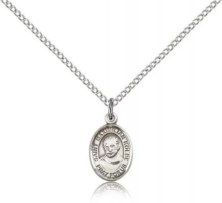 "Sterling Silver Small St. Maximilian Kolbe Pendant, Sterling Silver Lite Curb Chain, Small Size Catholic Medal, 1/2"" x 1/4"""